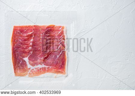 Italian Antipasto Hamon Set, On White Background, Top View  With Copy Space For Text