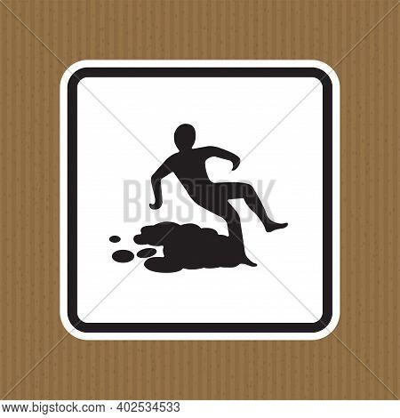 Beware Slippery Surface Symbol Isolate On White Background,vector Illustration Eps.10