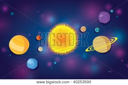vector of stylized planets and solar system