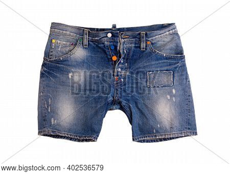 Fashionable Denim Shorts On A White Background. Denim Shorts Close Up. Denim Shorts In Patches.