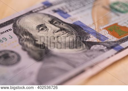 One Hundred Dollar Bill Close-up. Portrait Of The President On A Hundred Dollar Bill.