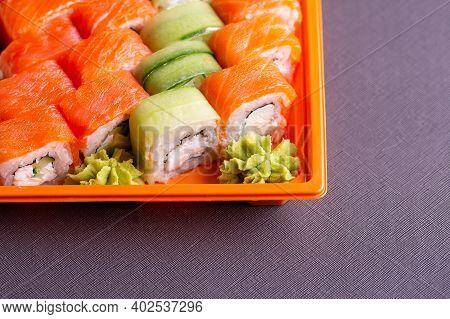 Set Of Fresh Rolls And Sushi. Overhead Japanese Sushi Food. Fresh And Delicious Sushi Japanese Food.