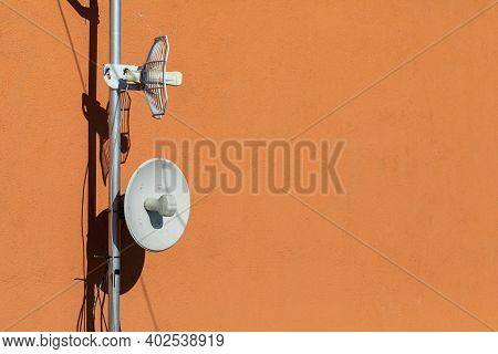 Wireless Internet And Mobile Telephony Transmitting And Receiving Antennas Mounted On The Building W
