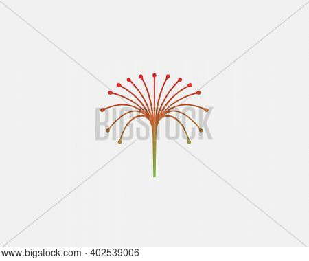 Abastract Colorful Flower Simple Logo Design Template In Linear Style. Creative Fontain Symbol Icon