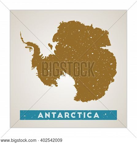 Antarctica Map. Country Poster With Regions. Old Grunge Texture. Shape Of Antarctica With Country Na