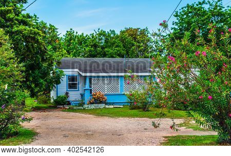 Grand Cayman, Cayman Islands, July 2020, View Of A Purple House In George Town