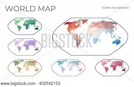 Low Poly World Map Set. Eckert V Projection. Collection Of The World Maps In Geometric Style. Vector