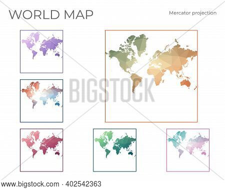 Low Poly World Map Set. Spherical Mercator Projection. Collection Of The World Maps In Geometric Sty