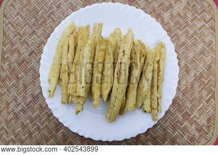 Gujarati Popular Snack Cuisine Item Snacks Breakfast. Made With Gramflour And Fried. Top View. Tasty