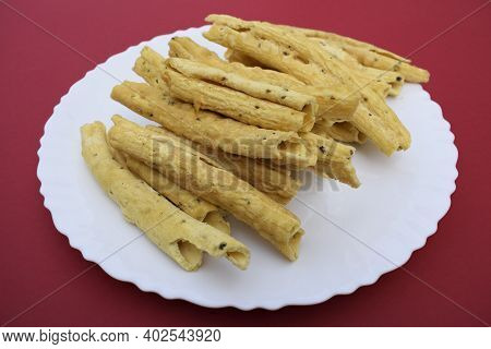 Gujarati Popular Snack Cuisine Item Snacks Breakfast. Made With Gramflour And Fried. Side View. Tast