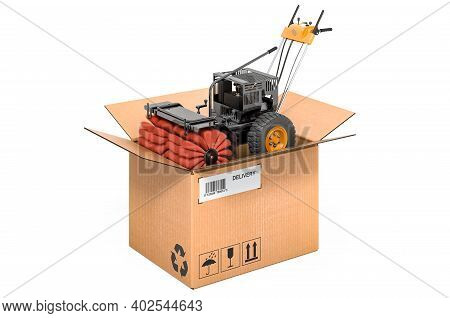 Snow Sweeper Power Brush Broom Industrial Inside Cardboard Box, Delivery Concept. 3d Rendering Isola