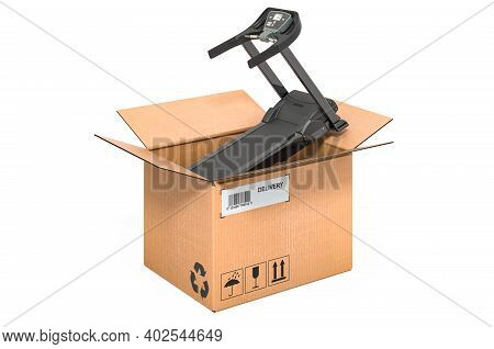 Treadmill Inside Cardboard Box, Delivery Concept. 3d Rendering Isolated On White Background