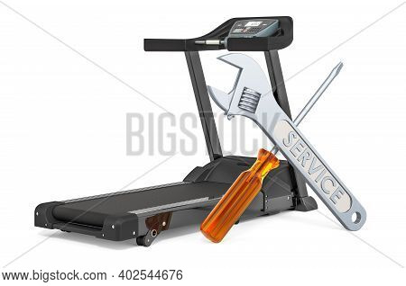 Service And Repair Of Treadmill, 3d Rendering Isolated On White Background