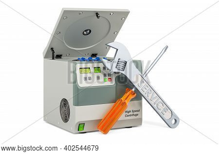 Service And Repair Of Laboratory Centrifuge, 3d Rendering Isolated On White Background