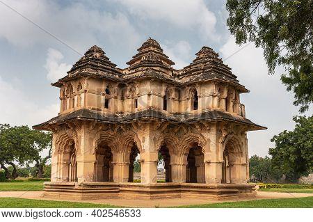 Hampi, Karnataka, India - November 5, 2013: Zanana Enclosure. Closeup Of Brown Stone Ruinous Lotus M