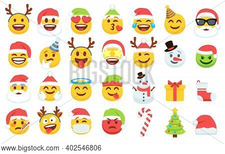 Santa Claus Emoticons In Xmas Hat, Snowman And Funny Yellow Faces With Deer Antler Headbands. Gift B
