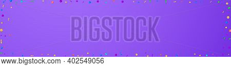 Festive Surprising Confetti. Celebration Stars. Festive Confetti On Violet Background. Alive Festive