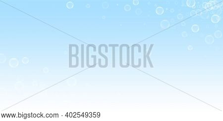 Random Soap Bubbles Abstract Background. Blowing Bubbles On Winter Sky Background. Breathtaking Soap