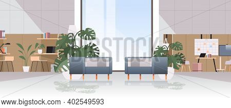Empty Coworking Center Modern Office Room Interior Open Space With Furniture Horizontal Vector Illus