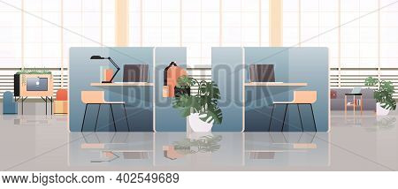 Workplaces With Laptops In Empty Coworking Center Modern Office Room Interior Open Space With Furnit