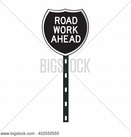 Road Work Sign Icon Isolated On White Background From Traffic Signs Collection. Road Work Sign Icon
