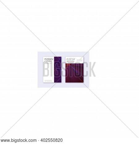Minimal Cover Design Template Set. Violet Abstract Lines On Dark Background. Decent Cover Design. Vi