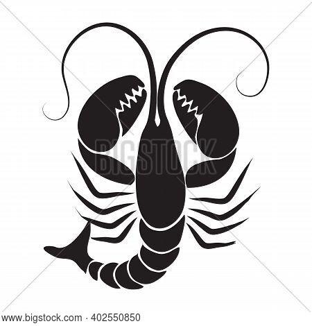 Black Solid Icon For Lobster Crayfish Shrimp Prawn Reptantia Langouste Crayfish Pleopod Crustacean F