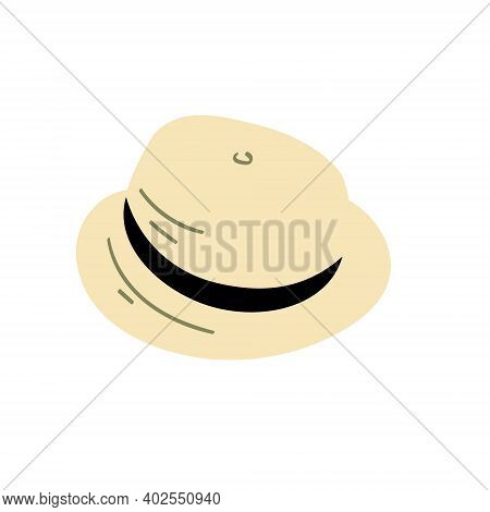 Cuban Classical Hat Fedora Illustration. Hand Drawn Islolated On White.