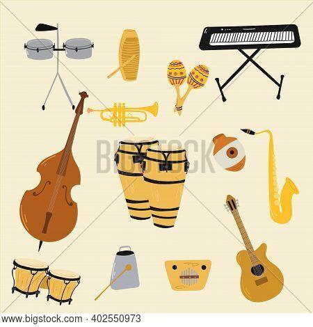 Salsa Music Musical Instruments. Double Bass, Congas, Bongos, Guitar, Cuban Tres, Clave, Botijuela,
