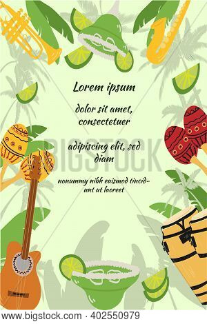 Template With Guitar, Cuban Tres And Conga Drums, Maracas, Guiro, Palm Leaves And Hibiscus Flowers.