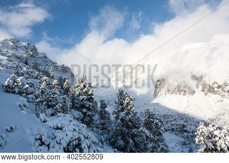 mountain valley in Hight Tatras in Slovakia, winter landscape