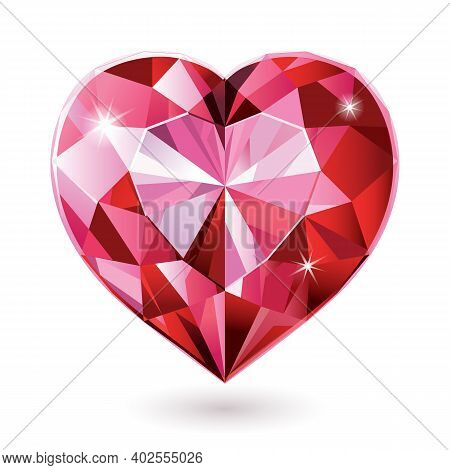 Red Diamond Heart Isolated On White Background Vector Illustrations