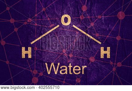 Water Natural Inorganic Compound. Water Molecular Structure. Lines And Dots Connected Background