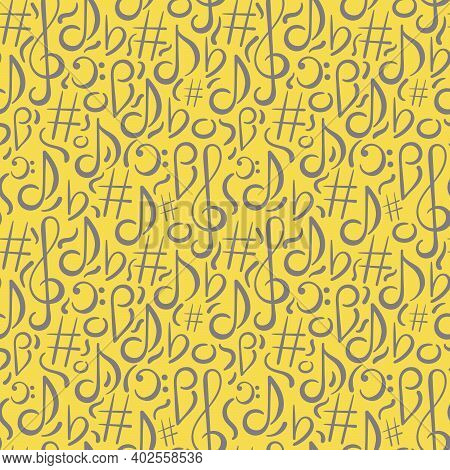 Hand Drawn Seamless Pattern. Music Concert Festival Doodle Vector Background. Musical Note, Treble C