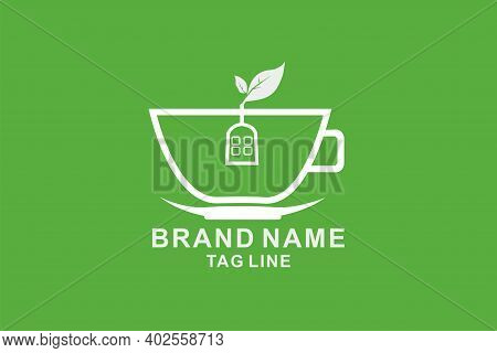 The Cup Logo Is In The Shape Of A House And Tea Leaves, Very Suitable For Doing A Teahouse Business