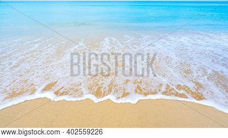 Beautiful Sea Summer Or Beach And Tropical Sea Background,soft Turquoise Ocean Wave Crashing On Sand