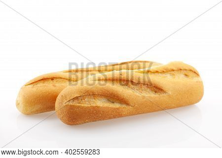 Fresh Baguette Bread Isolated On White Background.