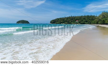 Aerial View Of Beautiful Sea Summer Or Beach And Tropical Sea Background,soft Turquoise Ocean Wave C