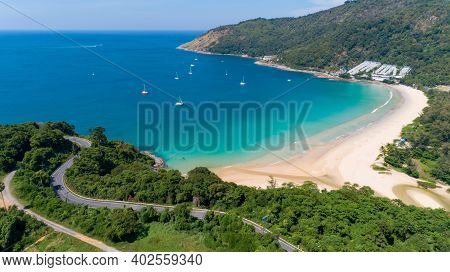 Aerial View Of Curve Road Along The Naiharn Beach At Phuket Thailand Beautiful Sandy Beach And Open