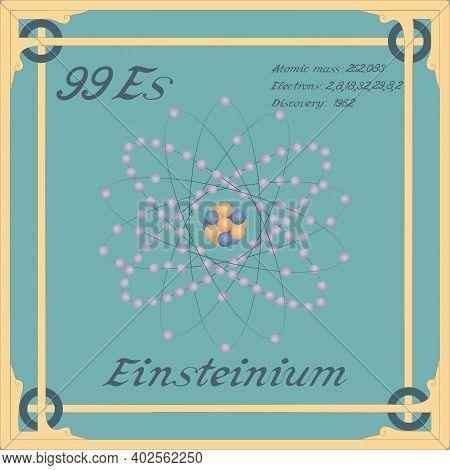 Periodic Table Element. Einsteinium Colorful Icon. Vector.