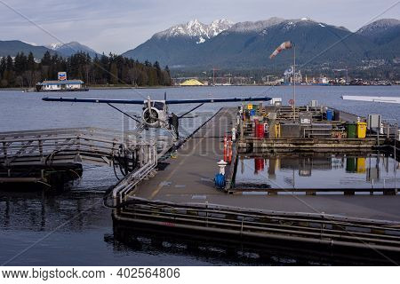 January 9,2021 Vancouver British Columbia Canada Harbour Air Seaplane Being Refueled In Coal Harbour