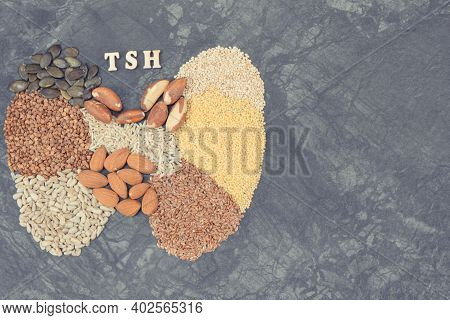 Nutritious Natural Ingredients In Shape Of Thyroid. Healthy Food As Source Vitamins And Minerals. Pr