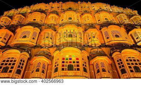 Jaipur, Rajasthan - 18 Oct, 2019 - Night View Of Hawa Mahal Is One Of The Prominent Tourist Attracti