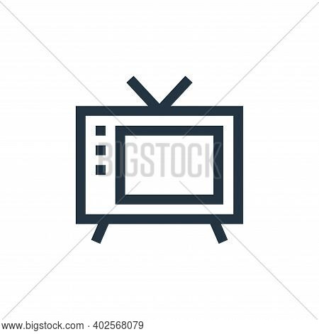 old tv icon isolated on white background. old tv icon thin line outline linear old tv symbol for log