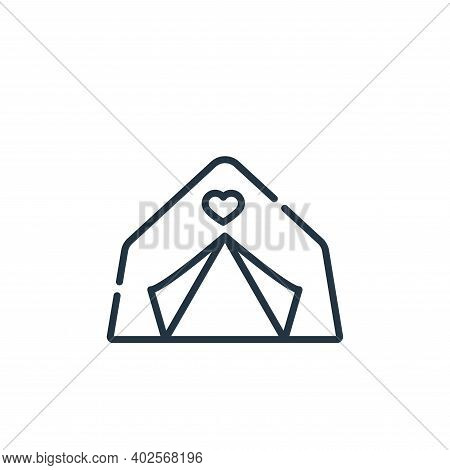 tent icon isolated on white background. tent icon thin line outline linear tent symbol for logo, web