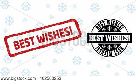 Best Wishes Exclamation. Stamp Seals On Winter Background With Snow In Clean And Draft Versions For