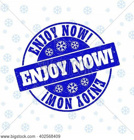 Enjoy Now Exclamation. Round Stamp Seal On Winter Background With Snow. Blue Vector Rubber Imprint W