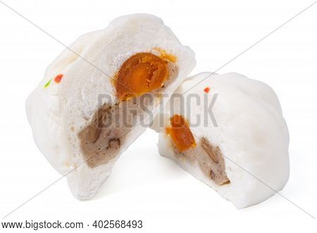 Isolated Steamed Bun. Delicious Baozi, Chinese Steamed Meat Bun Is Ready To Eat On Isolated White Ba