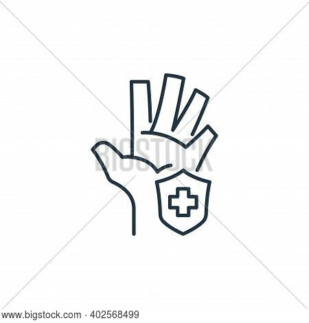 hand protection icon isolated on white background. hand protection icon thin line outline linear han