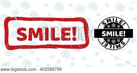 Smile Exclamation. Stamp Seals On Winter Background With Snow In Clean And Draft Versions For Xmas.